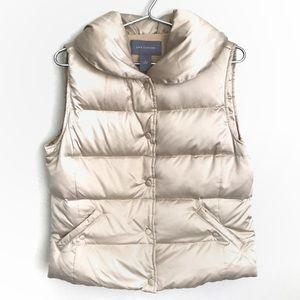 Ann Taylor Champagne Shimmer Down Puffer Vest